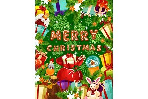Christmas banner with frame of New Year gift