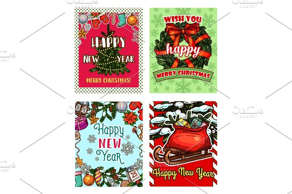 christmas tree and new year gift sketch card illustrations