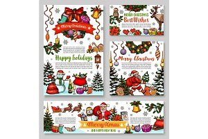 Christmas gift banner for New Year greeting card
