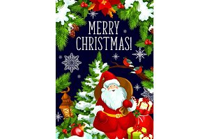 Christmas gift and Santa card for New Year design