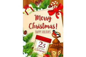Christmas 25 December holiday vector greeting card