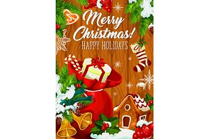 Merry Christmas holiday wish vector greeting card