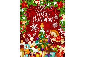 Christmas tree and gift card with New Year garland
