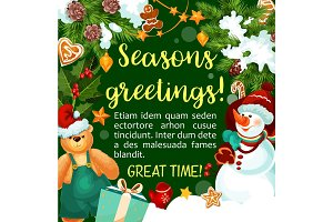 Christmas vector winter holiday season greeting