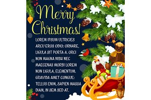 Merry Christmas tree presents vector greeting card