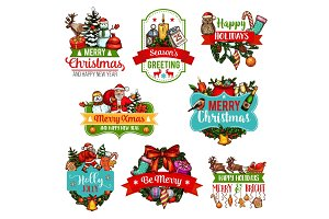 Christmas and New Year holiday gift sketch label