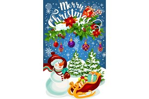 Christmas gift and snowman greeting card design