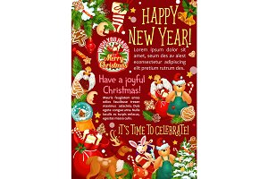 Christmas and New Year holiday greeting poster