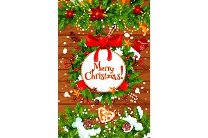 Christmas tree and holly wreath New Year poster