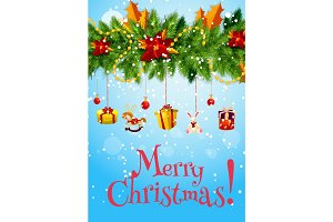 Christmas garland with New Year gift greeting card