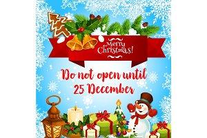 Merry Christmas wish vector greeting card