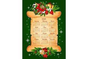 Christmas holidays 2018 calendar vector design