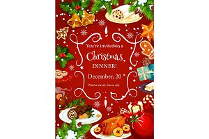 Christmas dinner invitation with festive dishes