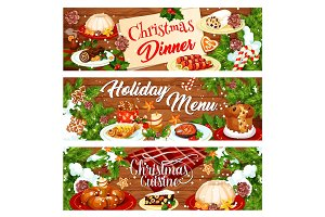 Christmas menu banner with Xmas dinner dishes