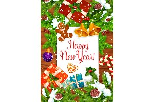 New Year greeting card of Christmas holiday design