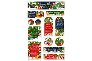 Christmas tag, New Year holidays celebration card