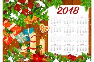 Christmas calendar template on wooden background
