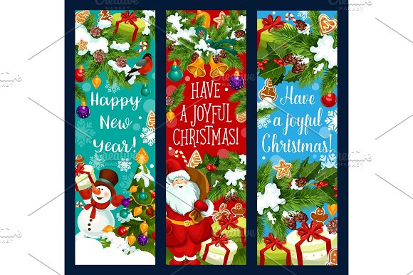 merry christmas new year vector greeting banners illustrations