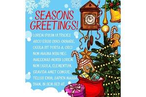 Christmas season wish vector sketch greeting card
