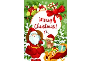 Santa Claus card for Christmas holiday celebration