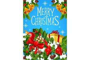 Christmas gift greeting card for New Year design