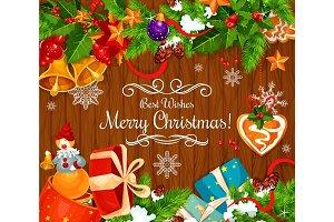 Christmas celebration wish vector greeting card
