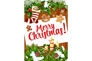 Christmas and New Year card on wooden background