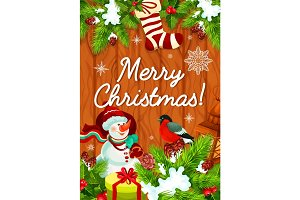 Christmas celebration gifts vector greeting card