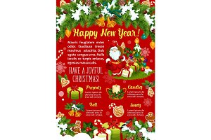 New Year winter holidays vector greeting card