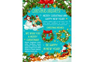 Merry Christmas holiday vector greeting card