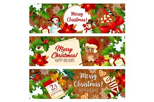 Christmas holiday gift banner on wooden background