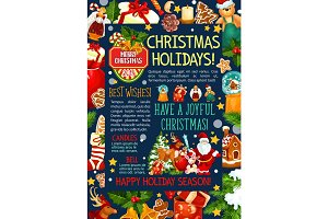 Christmas and New Year poster template design