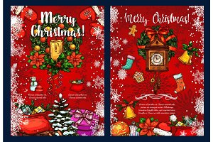 Christmas wreath with gift winter holidays card