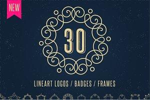 30 Lineart Logos / Badges / Frames