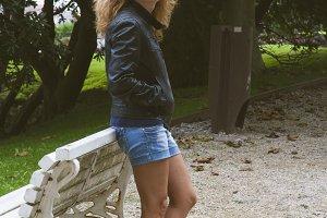 girl on park bench