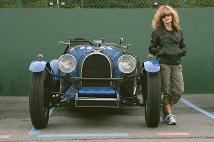 girl with antique car