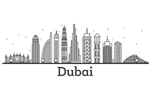Outline Dubai UAE Skyline