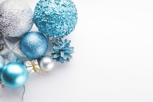 Christmas blue and silver balls, gif