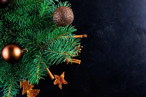 christmas background with fir, candy