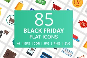 85 Black Friday Flat Icons