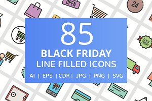 85 Black Friday Filled Line Icons