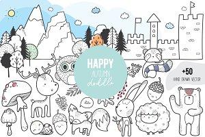 HAPPY Autumn Doodle vector