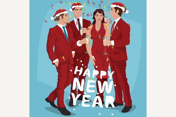 Men And Woman Celebrate New Year