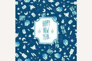 Pattern happy new year frosty