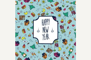 Pattern happy new year wintry