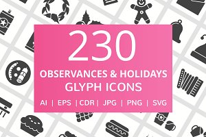 230 Observance & Holiday Glyph Icons