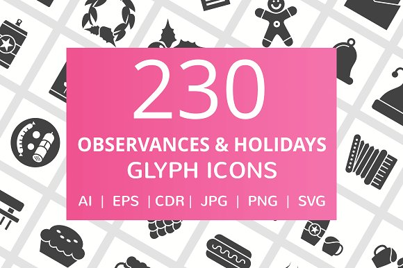 230 Observance Holiday Glyph Icons