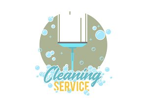 Window cleaning service logo, label or symbol.