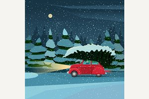 Retro car with Christmas tree wood