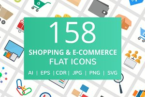 158 Shopping & E-Commerce Flat Icons